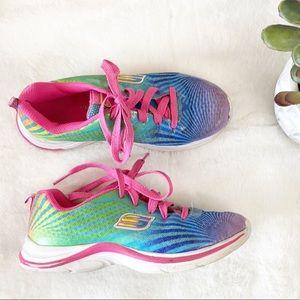 Skechers girls glittery bright rainbow sneakers